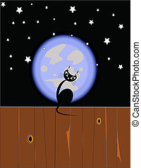 cat on fence with full moon behind it