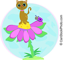 Cat on Flower with Lady Bug - Here is a cute Cat and Ladybug...