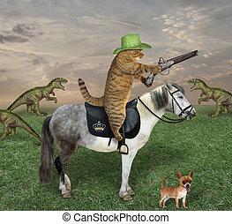 Cat on gray horse grazes dinosaurs