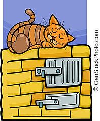 cat on stove cartoon illustration