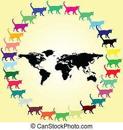 cat on the world illustration