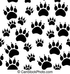 Cat or dog paw seamless pattern - animal footprint texture. illustration.