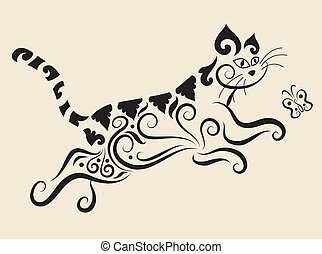 Cat ornament - Cat drawing with floral ornament decoration. ...