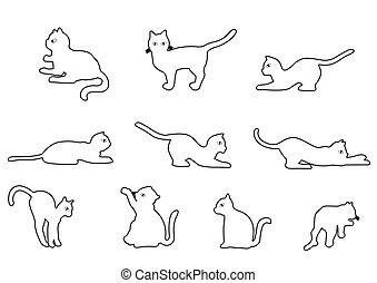 ... Cat Outline   Cat On A White Background Vector Illustration.