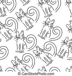 Cat outline vector seamless pattern illustration clip art