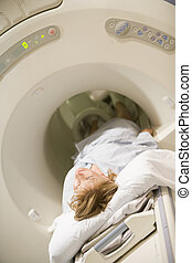 (cat), paciente, el experimentar, exploración, tomografía ...