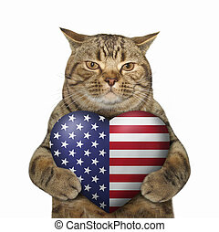 Cat patriot with an american heart