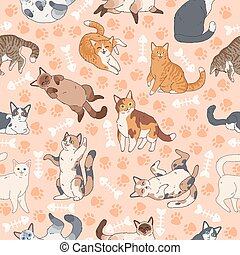 Cat pattern. Seamless texture with cute multicolor cats, kids wallpapers with funny happy pets, fabric textile vector decor