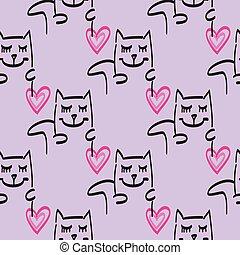 Cat pattern vector hand drawn illustration