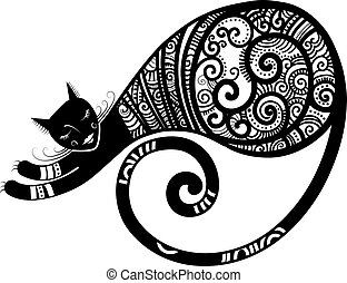 Cat - Patterned cat, hand drawn unique vector illustration