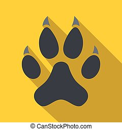 Cat paw icon, flat style