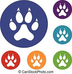 Cat paw icons set