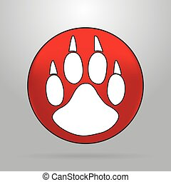 Cat paw logo on a red circle on a grey background