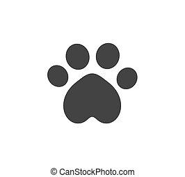 Cat paw print black icon.