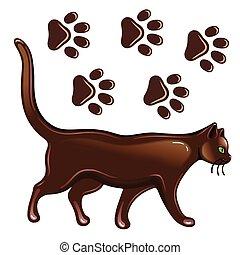 Cat & paw prints