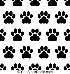 Black seamless of footstep cat paws.