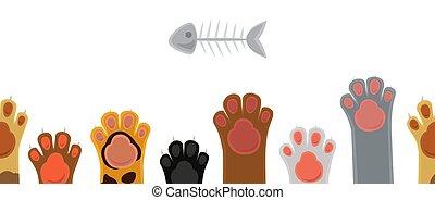 Cat paws seamless pattern