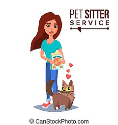 Cat Pet Sitter Vector. Cat Sitter Walking. Pet Taking A...