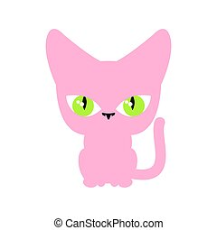 Cat pink isolated. Pet on white background