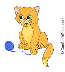 cat playing, cartoon