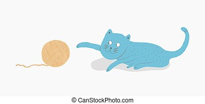 Cat playing with a ball of yarn