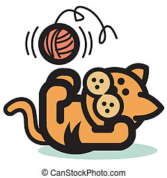 Cat Playing With Ball Yarn Clip Art - Cat playing with ball...