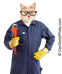 Cat plumber with adjustable wrench.