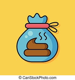 cat poo bag vector icon