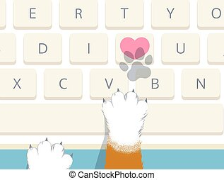 Cat pressed heart key on computer keyboard to send I love you