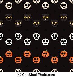Cat, pumpkin, skull and ghost