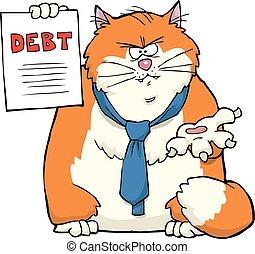 Cartoon cat requires debt repayment vector illustration