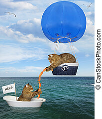 Cat rescuer in a blue hot air balloon 2