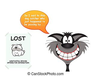 Cat responsible for lost dog - Comical cat responsible for ...