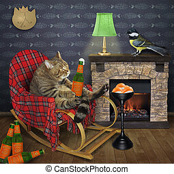 Cat rests in rocking chair at home