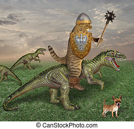 Cat riding a dragon in the field 2