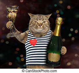 Cat sailor with glass of wine 2