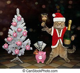 Cat Santa drinks champagne