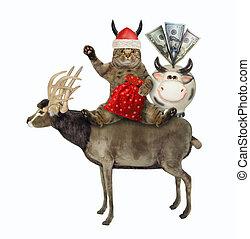 Cat Santa sits on reindeer 3