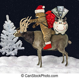 Cat Santa with gifts rides reindeer 2