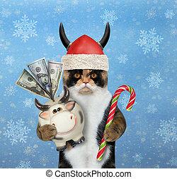 Cat Santa with money box cow 2