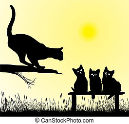 Cat school - School jumping cat, vector illustration