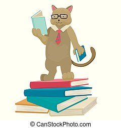 Cat scientist reads books. Librarian cat. Fairy-tale character. Vector isolated character.