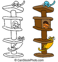Cat Scratching Post - An image of a cats playing in a tall ...