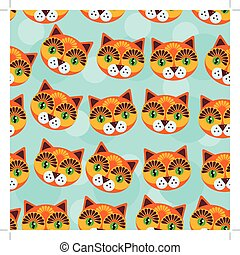 Cat Seamless pattern with funny cute animal face on a blue background