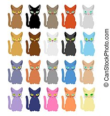 Cat set. Many colored cats. Vector illustration
