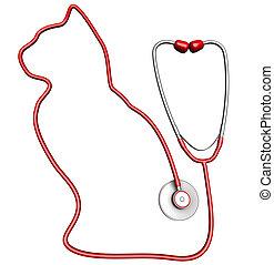 Cat-shaped stethoscope. Pet health care concept