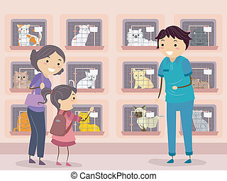 Cat Shelter Visit - Illustration of a Family Visiting a Cat ...
