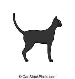Cat side view vector icon animal cartoon illustration. Black pet isolated tail kitty. Graphic walking flat mammal