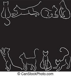Download Black cat silhouette collections vectors illustration ...
