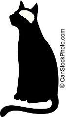Cat Silhouette Brain Illustration